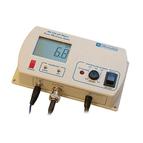 Milwaukee Instruments MC122US pH Controller with Hi/Low Range Alarm, 2 Point Manual Calibration, 0.0 to 14.0 pH Range