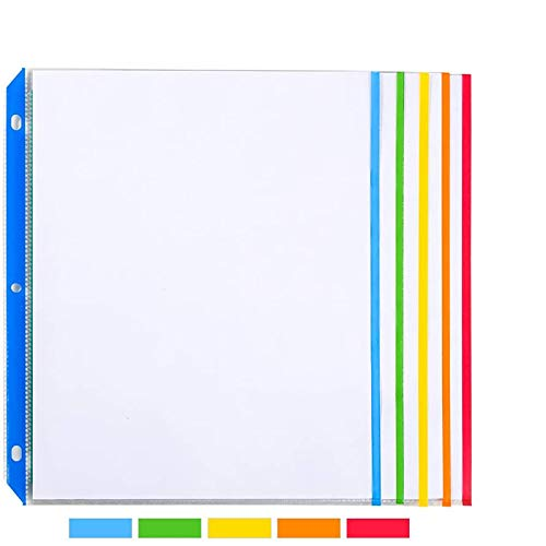 Sooez Clear Sheet Protectors, Medium Weight Color Coded Edges Page Protectors for Quick Reference, Clear Plastic Sleeves for Binders, Top Loading Paper Protector Acid Free Letter Size, 50 Pack