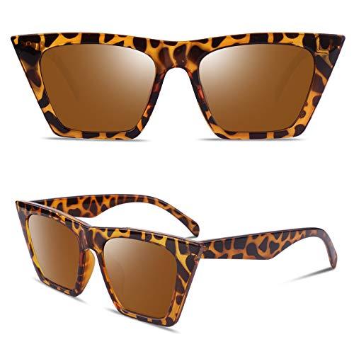 GQUEEN GQZ6 - Gafas de sol polarizadas para mujer, diseño de ojo de gato, color Marrón, talla Medium