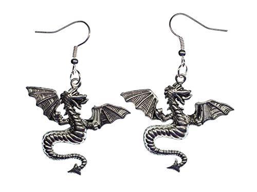 pendientes pendientes dragón dragón de plata del dragón de la fantasía del dragón de Dino Miniblings