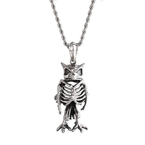 Beglie Herren Halskette Eulen-Totenkopf Anhänger Halskette Edelstahl Halskette Biker Gotik Halskette Nylonband Durchsichtig Geschenk für Männer Herren