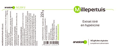 IPERICO (ERBA DI SAN GIOVANNI) * 230 mg / 60 capsule * 0,3% in Ipericina *Migliora l'umore naturalmente * Efficace contro lo stress * Fabbricato in FRANCIA