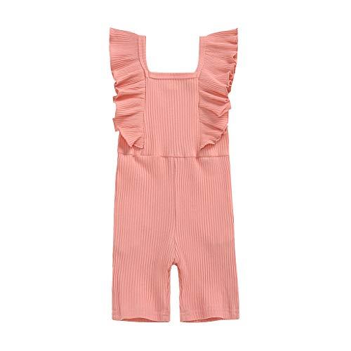 Janly Clearance Sale Mameluco para niñas de 0 a 7 años, sin mangas, con volantes sólidos, para niños de 6 a 7 años, regalo de Pascua de San Patricio (rosa)