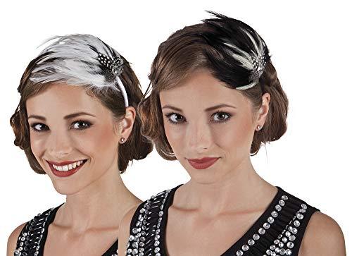 Pams Serre-tête avec plume Style années 20 Noir/blanc