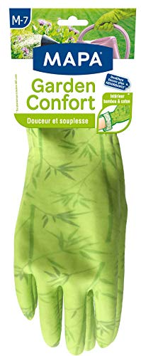 Mapa - Garden confort - Gant de jardinage en latex intérieur bambou et coton - Doux et absorbant - Taille 7/M