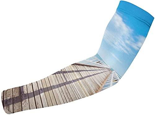 Blue-shore Volleyball-Armmanschette  Sonnenschutz Arm Ärmel Pier Arm Ärmel für Basketball, Laufen und Herren Damen-Weiß-Einheitsgröße
