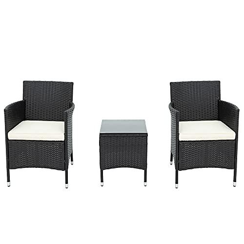 ZOEON Polyrattan Balkonmöbel Set für 2 Personen - 1 Tisch & 2 Sessel - Wetterfeste Gartenmöbel Set Rattan Lounge Möbelsets für Garten, Balkon & Terrasse–inkl. Sitzkissen (Schwarz)