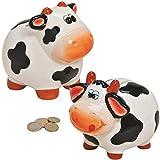 Matches21 Hucha de cerámica con diseño de vaca, color marrón/multicolor, 1 unidad, 2 variedades de 12 x 10 x 12 cm