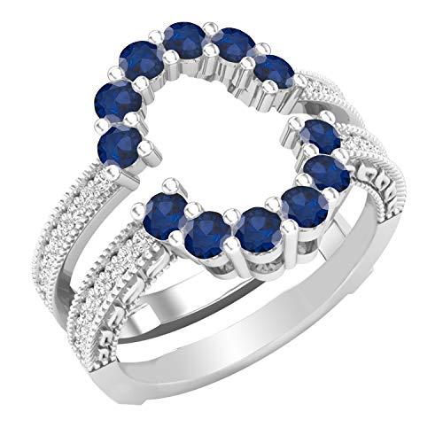 Dazzlingrock Collection Alianza de boda curvada de doble guardia a juego con zafiro azul redondo y diamantes blancos | oro blanco de 14 quilates, talla 8.5