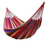 Dinta Mall Portable Durable Garden Hammocks Striped Ultralight Outdoor Beach Swing Bed with Strong Rope,Swing for Garden & Sports (Multi Color,230X80cm)