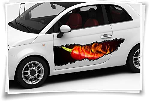 Medianlux Auto-Aufkleber Seitenstreifen Rot Peperoni Chilli Feuer Airbrush Folie Tuning Car-Wrapping Luftkanalfolie Digitaldruck Folierung