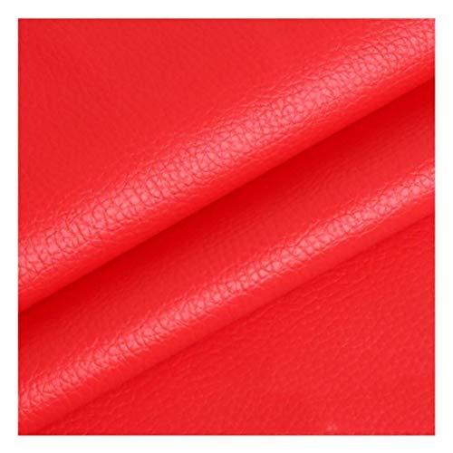 NXFGJ Feaux - Rollo de tela de piel sintética de piel sintética, material ligero y elástico, tela de tapicería, varios colores, se vende por metro (color: rojo)