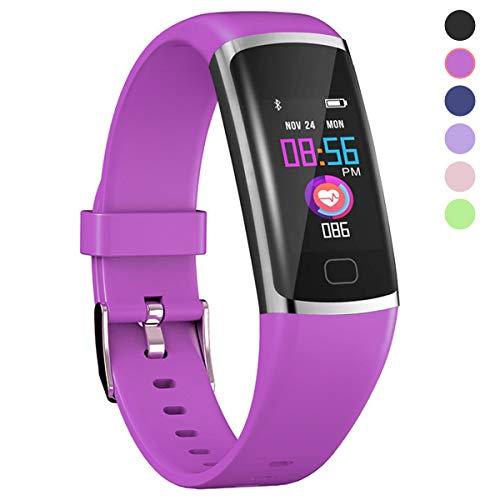 Polywell Fitness-Tracker, Aktivitätstracker mit Herzfrequenz-Monitor und Schlaf-Monitor, Bluetooth, wasserdicht, Schrittzähler und Kalorienzähler für Android und iOS (Purple)