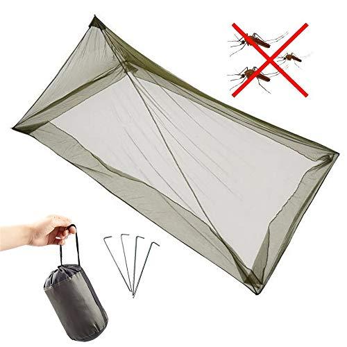 ANSUG Moustiquaire de Camping, moustiquaire de Tente extérieure, Moustiquaire de la Tente Pyramid, Ensemble de moustiques Portable et léger pour lit Simple (avec 4 Clous de Sol)