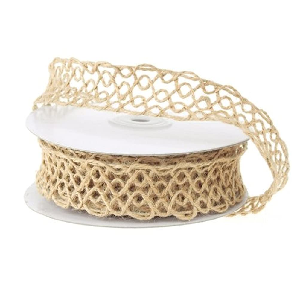 Homeford Firefly Imports Open Weave Mesh Jute Wire Ribbon, 1-Inch, 10 Yards, Natural,
