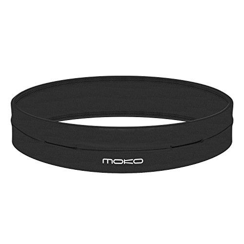 "MoKo Riñoneras Belt Universal - Deportivo Cinturón de Correr de 4 Bolsillos para Ejercicios, Fitness, Gimnasio para iPhone 7 / 6S / Galaxy S10 S10 Plus S10e, Negro (M - 28.7""-32.3"")"