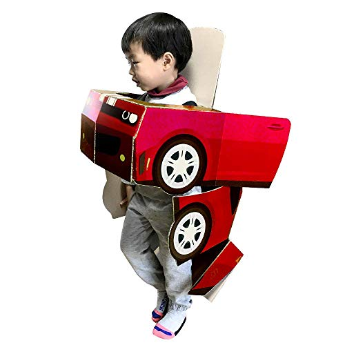 Costume Car, Transformation Robot Car,Cardboard Toys and Suit for Kids, DIY Play Indoor Kit, Childrens Toy, TTibot Kit - RED