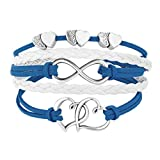LovelyJewelry Leather Wrap Bracelets Girls Double Hearts Infinity Rope Wristband Bracelets Gifts (Blue)