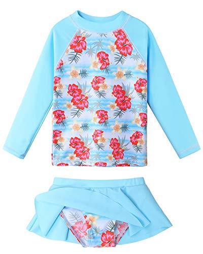 Girls Long Sleeve Swimsuit Two Piece UPF 50+ Floral Rashguard Beachwear S321_LightBlue_6A