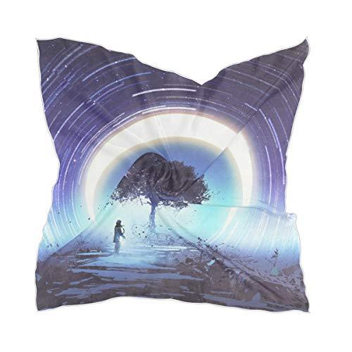 Bufanda cuadrada psicodélica árbol mágico luna estrella notas de guitarra chal de seda bufanda cuello bufanda