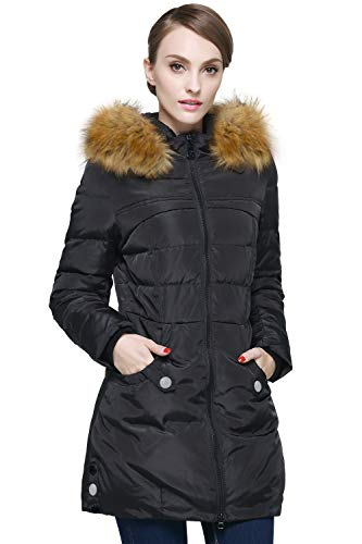 Orolay Women's Down Jacket with Faux Fur Trim Hood Black S