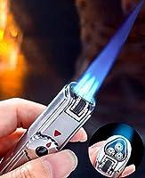 【WDMART】 葉巻用ライター ガスライター メタルライター 充填式ライター 注入式ライター トリプルライター ジェットライター ターボライター フレームロック機能(ガスを含んでいません) (シルバー)