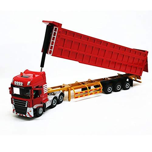 SELMAL Dump Truck construcción, a Escala 1:50 para Trabajo Pesado de aleación de Coche Todoterreno, Auto-Descarga de la Capacidad, Tractor Completamente Funcional Remolque de camión Transporte,Rojo