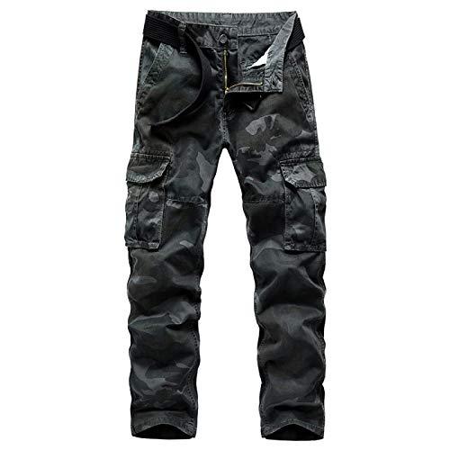 Huntrly Herren Overalls Camouflage Cotton Straight Hose mit Mehreren Taschen Verschleißfeste Trainingshose der Army Special Forces Field Desert 38