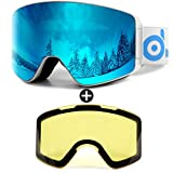 Odoland Ski Goggles Set with Detachable Lens, Frameless Interchangeable Lens, Anti-Fog 100% UV Protection Snow Goggles for Men and Women, Helmet Compatible - White Frame+12% Mirror Lightblue