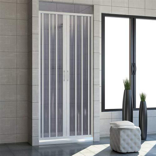 Cabina de ducha de 140 cm, modelo Jada extensible de PVC, doble puerta con paneles semitransparentes, apertura central con fuelle de color blanco.