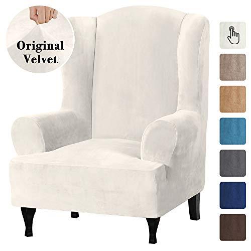 Velvet毛绒拉伸翅膀椅子盖子翼椅Slipcover翼椅覆盖家具封面为卧室椅子客厅,功能柔软厚的光滑织物机可清洗,关闭白色