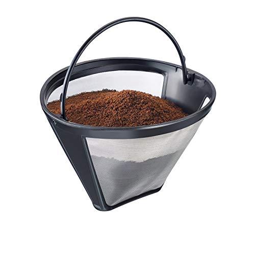 Westmark 24432260 Permanente koffiefilter, voor 8-12 kopjes koffie, Filtermaat 4, Met Roestvrijstalen Weefsel, Kunststof, Zwart/Zilver