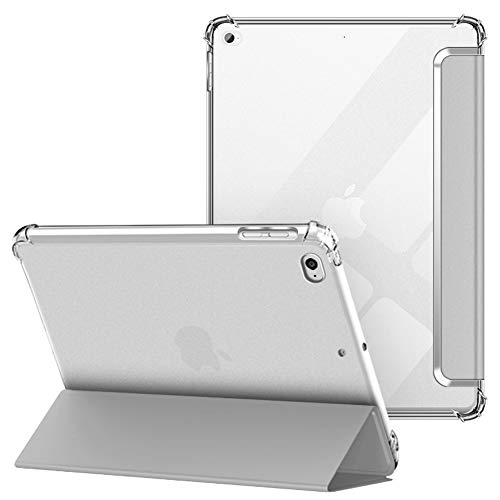 VAGHVEO Custodia per iPad 2018 2017 9.7   iPad Air 1 2 Cover, Protettiva Flessibile Trasparente TPU Cover Posteriore, Supporto Smart Case Tre-Pieghe Sottile e Leggera Antiurto Resistente Urti, Grigio