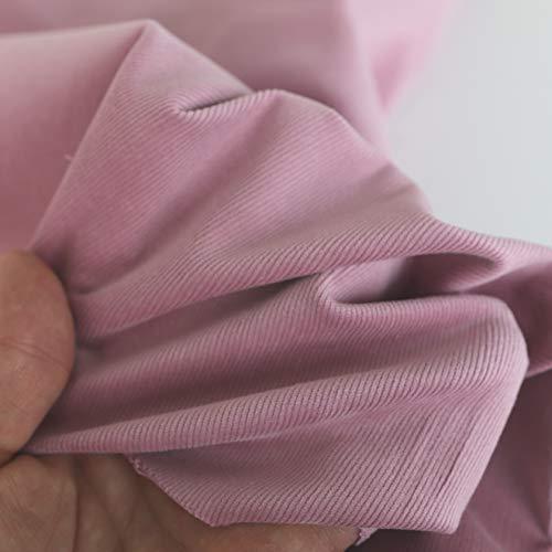 TOLKO Sommer Cord Stoff aus Baumwolle Querelastisch | weicher Bekleidungsstoff für Hose Jacke Rock aus Baumwolle | Meterware 135cm breit (Baby Rosa)