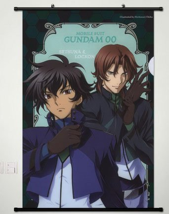 Wall Scroll Poster Fabric Painting For Anime Mobile Suit Gundam 00 Setsuna F Seiei & LOCKON STRATOS 016 L