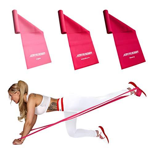 ActiveVikings® Fitnessbänder 2m Set 3-Stärken - Valkyrie Edition - Ideal für Muskelaufbau Physiotherapie Pilates Yoga Gymnastik und Crossfit - Fitnessband Gymnastikband Widerstandsband