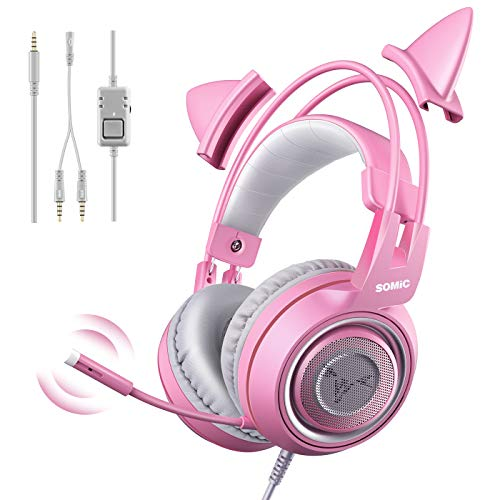 SOMIC G951s Pink Stereo Gaming Headset with Mic for...
