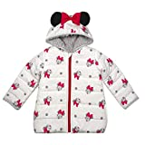 Disney Minnie Mouse Puffy Winter Coats for Girls and Toddlers with 3D Ears, White- 5