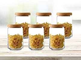 Ocean Glass storage container Pop Jar with Wooden Lid, Pack of 6, Clear, 750 ml, B0252606