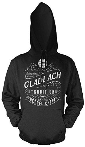 Mein Leben Gladbach Männer und Herren Kapuzenpullover | Fussball Ultras Geschenk | M1 Front (Schwarz, XXXXL)