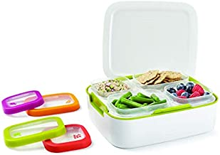Rubbermaid Balance Pre Portioned Meal Kit Food Storage Containers, White/Citron, 11 Piece Set including Lids | Bento Box Style | Microwave and Dishwasher Safe