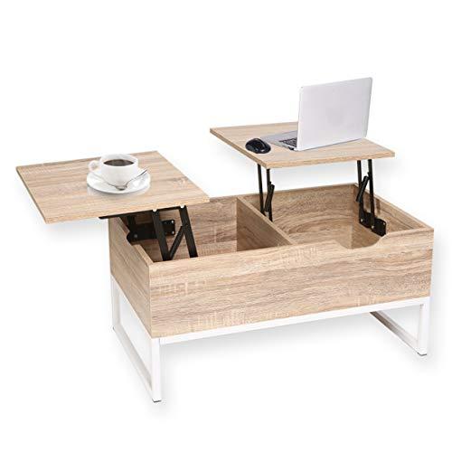 Happy Home Top - Mesa de Café con 2 Compartimentos Ocultos de Almacenamiento para Salón, 80 x 48 x 40 cm