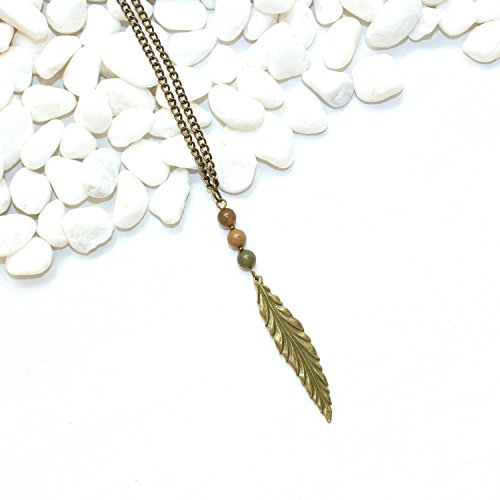 Long Leaf Necklace - Unique Agate Handmade Southwestern Spiritual Jewelry - Made in the US