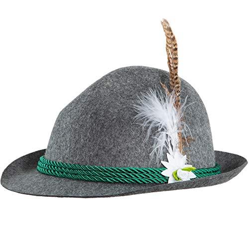 dressforfun 302847 Sepplhut mit Edelweiß und Feder, Trachtenhut für Oktoberfest, Trachten Party, grau