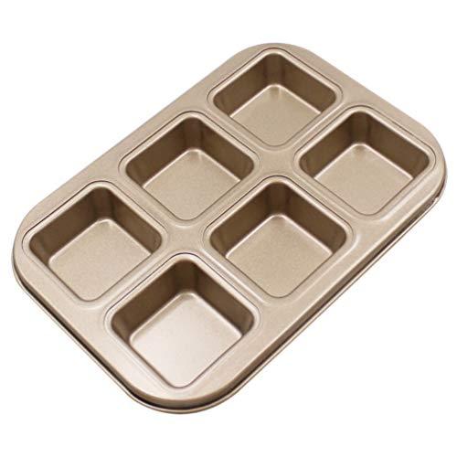 Hemoton Bakvorm Pan Koolstofstaal 6 Vaks Anti-Aanbak Bakvormen Vierkante Bakplaat Voor Restaurant Thuis Keuken