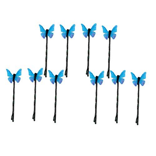 FRCOLOR 10 Pcs Borboleta Grampos de Cabelo Moda Asa Mosca Padrão de Inseto Pino de Cabelo Azul Cabelo Estrondo Clipe Decorativo Headwear Foto Prop para Mulheres Senhoras