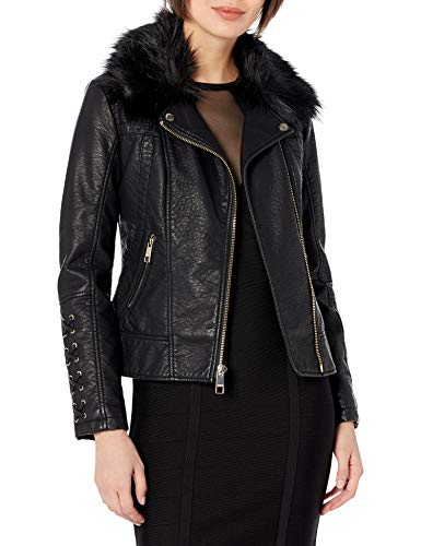 Guess Damen Leather Moto Jacket with Removable Faux fur Trim Kunstlederjacke, schwarz, Medium