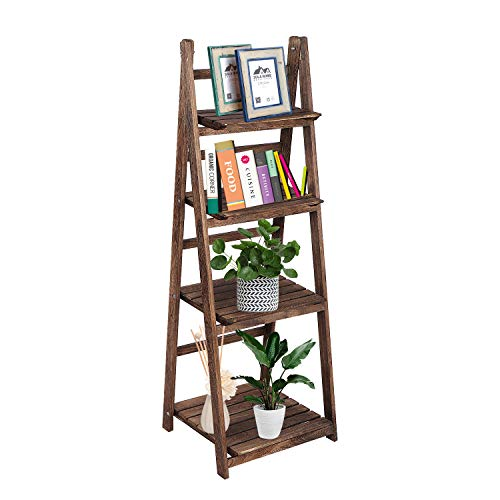 4-Layer Plant Shelf Indoor, Wood Plant Stands,Indoor Outdoor Plant Stand,Plant Stands for Multiple Plants for Living Room Garden Corner Patio Yard Balcony