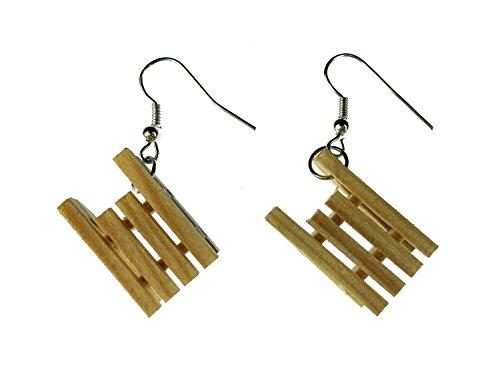 Miniblings Schlitten Ohrringe Hänger Winter Holzschlitten Mini Schlitten Holz - Handmade Modeschmuck I Ohrhänger Ohrschmuck versilbert