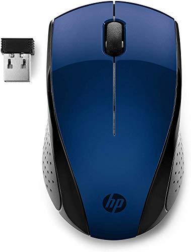 HP 220 Mouse Wireless, Tecnologia LED Blu, Sensore Ottico da 1300 DPI, 3 Pulsanti e Rotella di Scorrimento Integrata, Impugnature Pratiche e Funzionali, Ricevitore Nano Incluso, Design Moderno, Blu